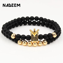 Fashion 2PCS/Set Couple His Hers 6mm Stone Bead CZ Crown Bracelet Men Charm Strand Handmade Wristband Jewelry Gifts