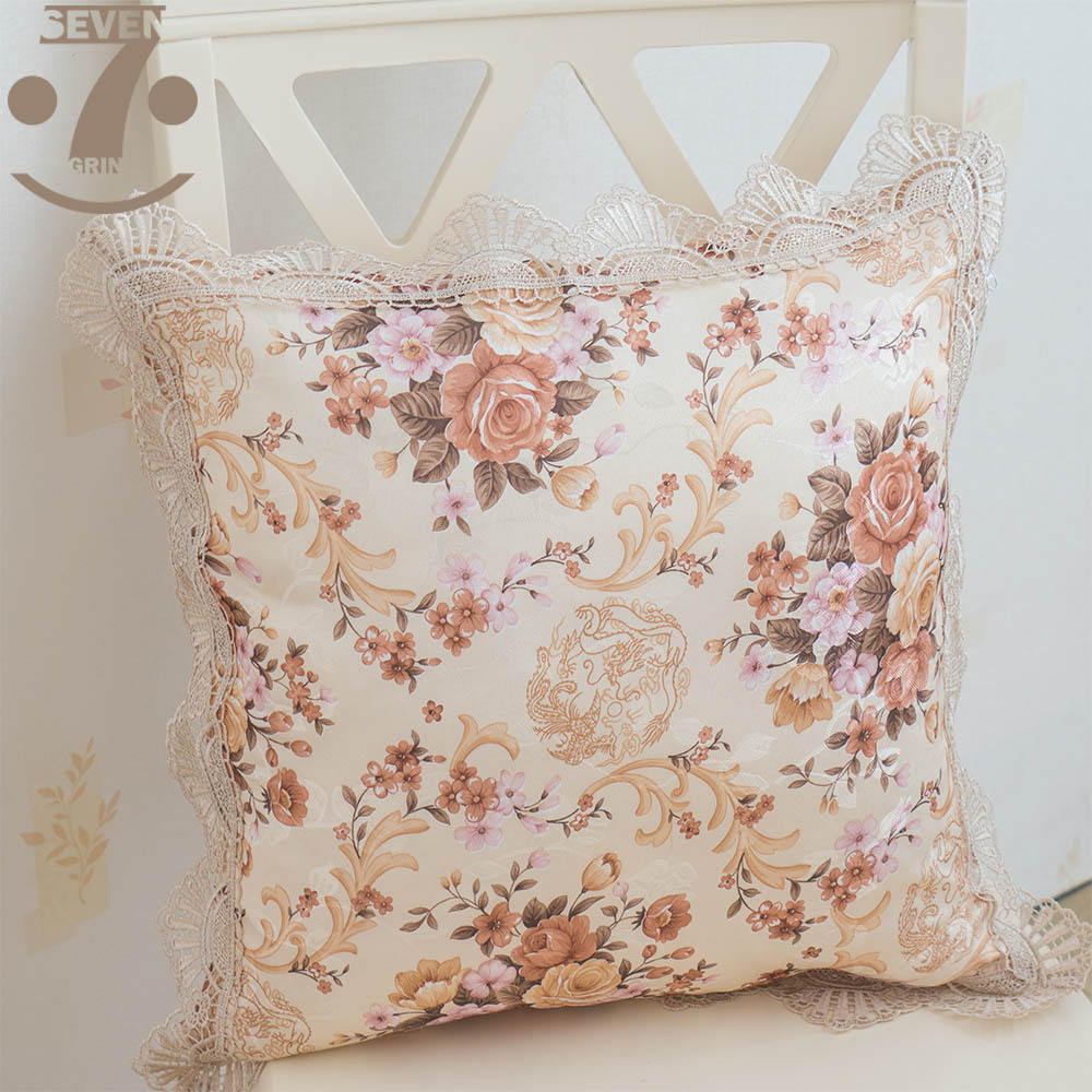 High Quality Soft Jacquard Cloth Floral Pattern 45x45cm Square Home Decorative Pillow Cover With Elegant Lace