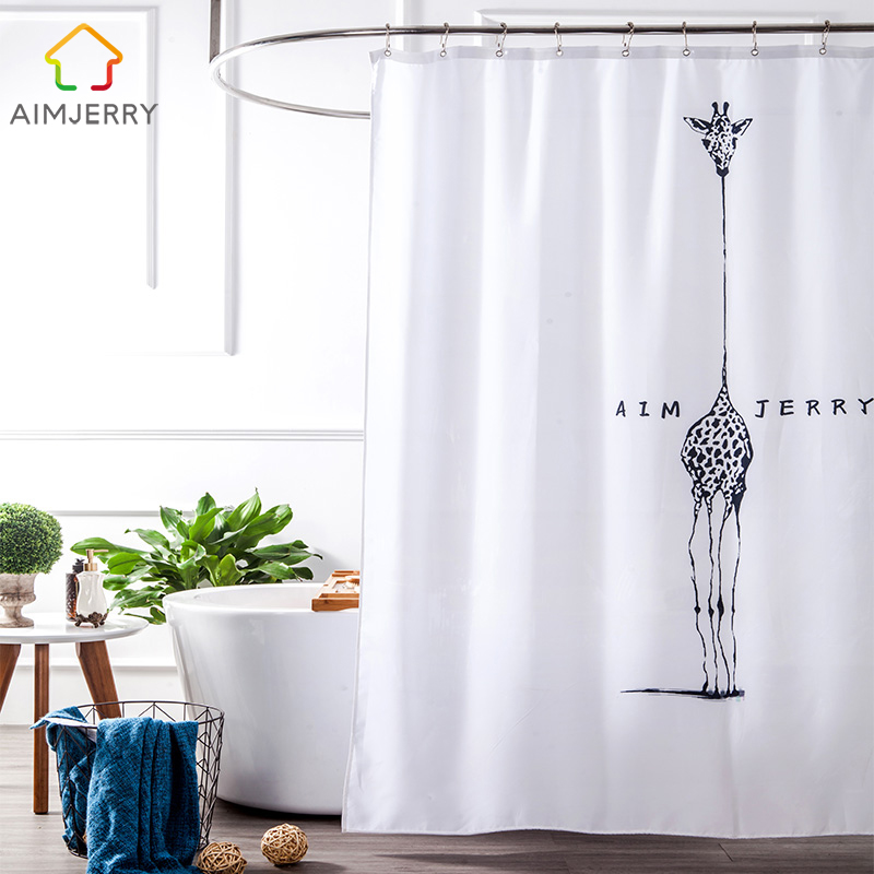 Aimjerry White and Black fabric Custom Bathtub Bathroom Products Shower Curtain Liner With 12 Hooks Waterproof and Mildewproof