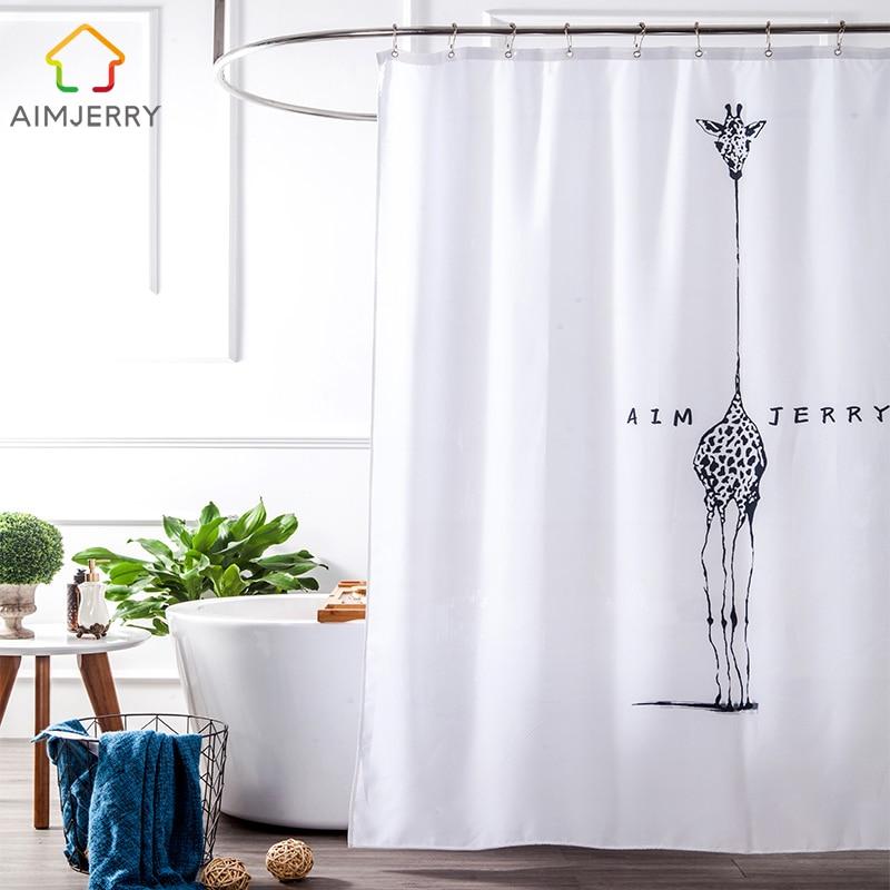 Aimjerry الأبيض والأسود النسيج مخصص منتجات الحمام حوض الاستحمام دش الستار مع 12 السنانير للماء و Mildewproof