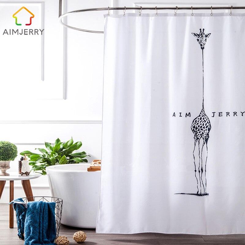 Aimjerry Λευκό και μαύρο ύφασμα Προσαρμοσμένη μπανιέρα Είδη μπάνιου Κουρτίνα κουρτινών με 12 αγκίστρια Αδιάβροχο και αδιάβροχο