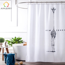Aimjerry White and Black fabric Custom Bathtub Bathroom Products Shower Curtain Liner With 12 Hooks Waterproof Mildewproof