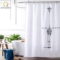 Aimjerry tela Blanco y Negro Personalizado Productos Bañera Baño Ducha Cortina de Línea Con 12 Ganchos Impermeable y Mildewproof