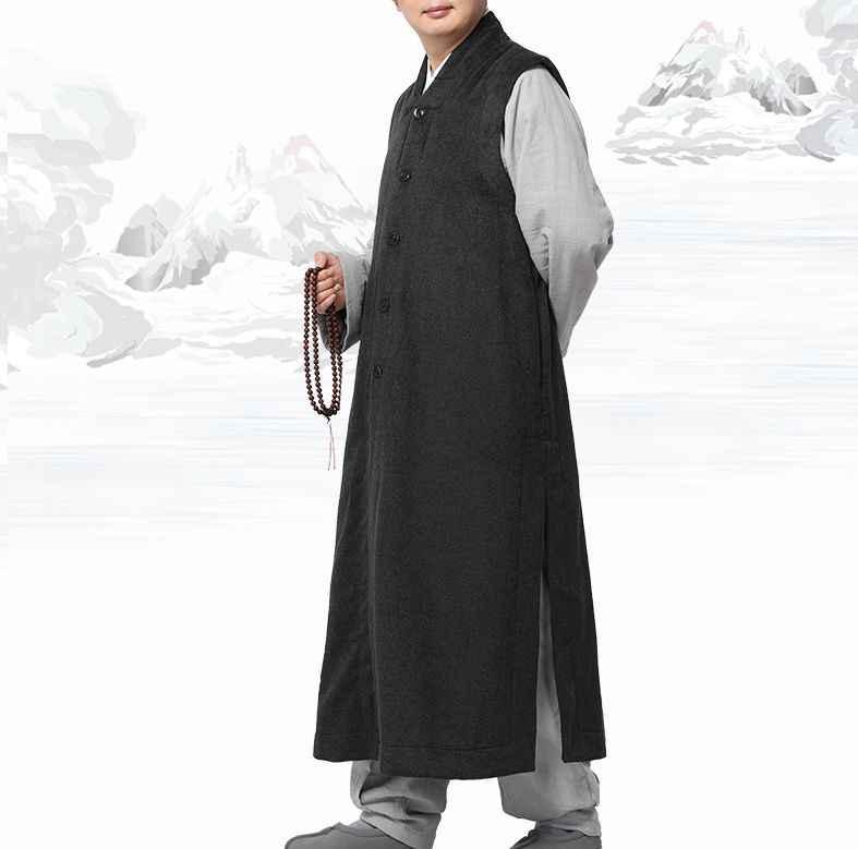4 色冬暖かい少林寺僧侶カンフーローブ僧侶ガウン禅スーツ coatvest 衣類制服コーヒー/ブルー /グレー