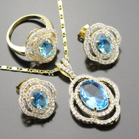 Gold Color Jewelry Sets For Women Blue Created Topaz White Topaz Necklace Earrings Ring For Party