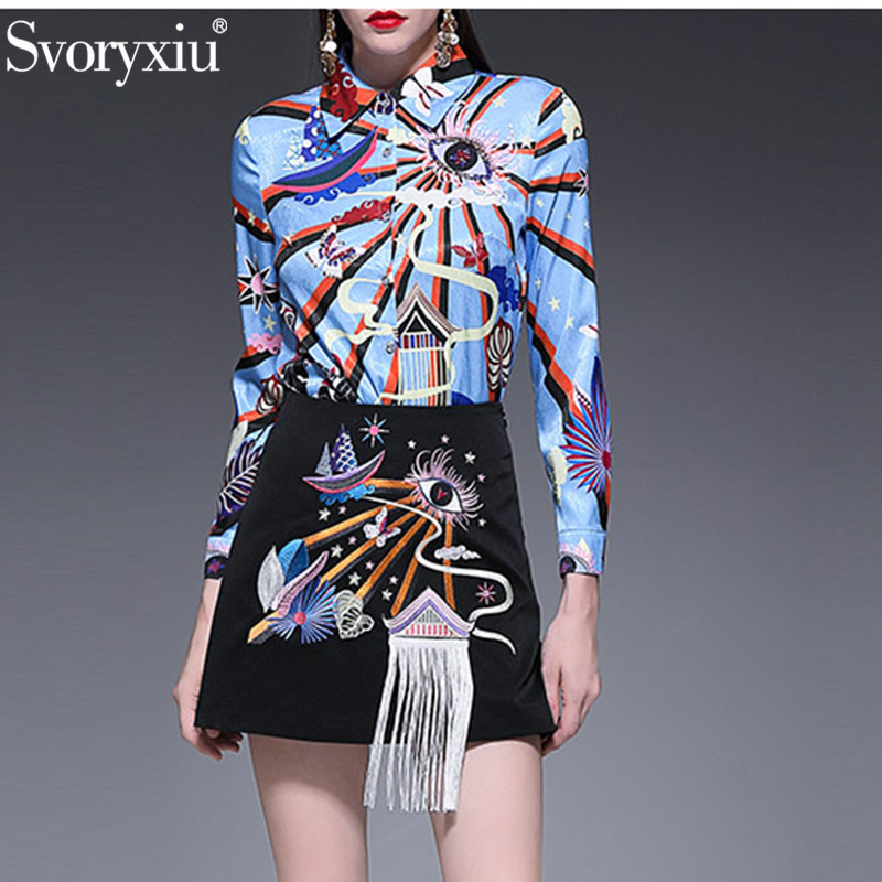 Svoryxiu Fashion Runway Summer Skirt Suit Women s Long Sleeve Print Beading Blouse Embroidery Tassel Mini