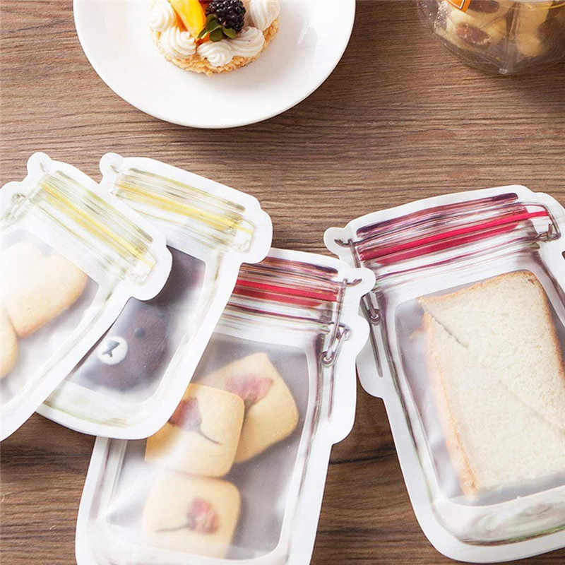 Reutilizable tarro botellas bolsas caramelo de frutos secos galletas bolsa sello Bolsa de almacenamiento de alimentos frescos Snacks cremallera sellado organizador de cocina