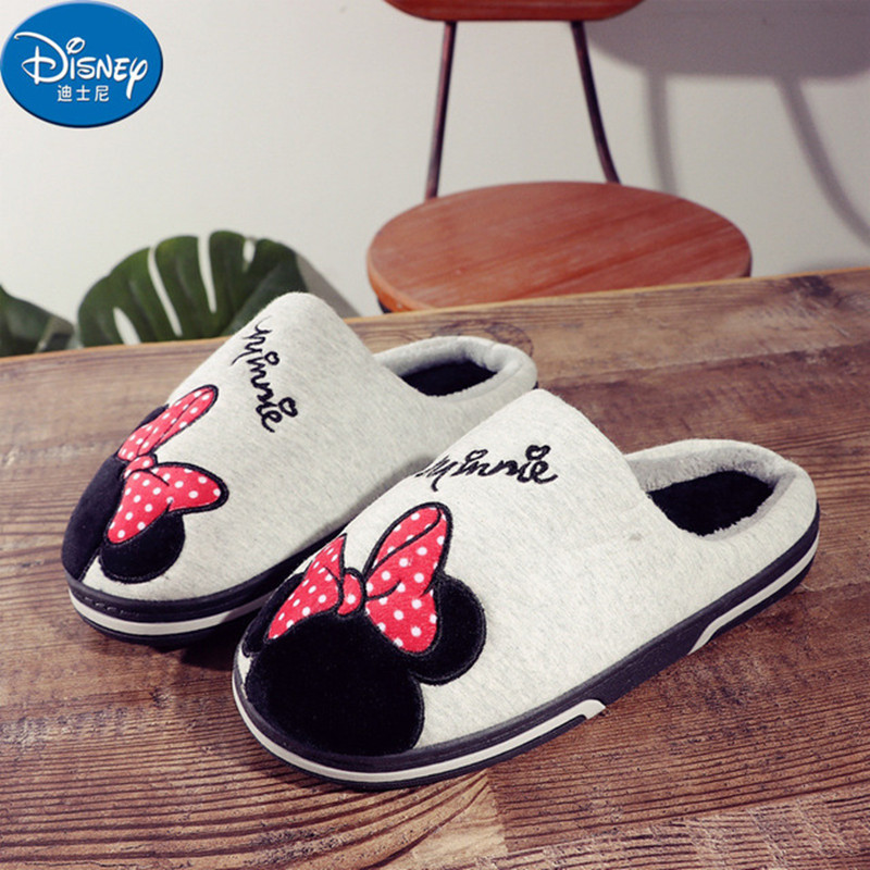 Disney children slippers Winter Plush lining Shoes Girls Bow warm cotton slippers boys pantuflas Indoor todder boy slippers slipper