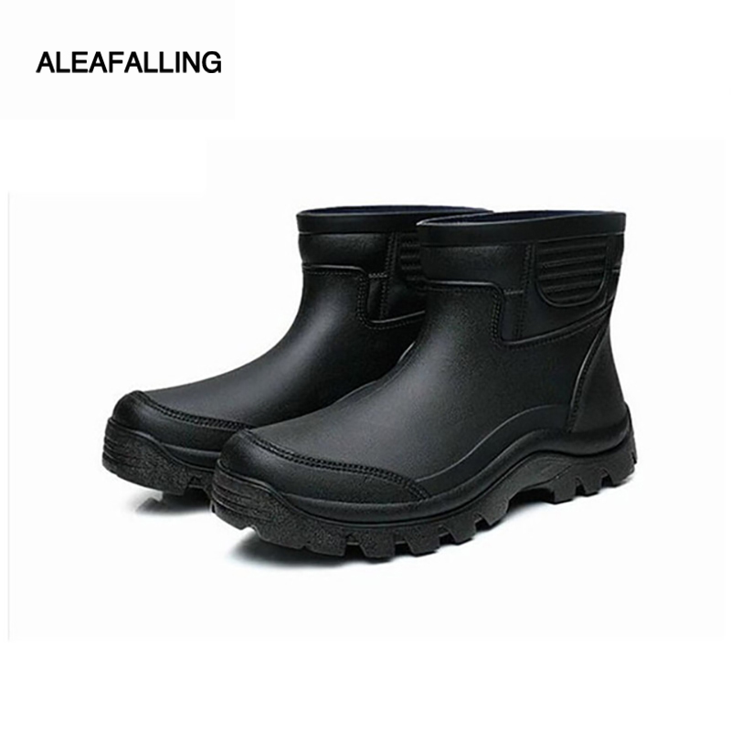 купить aleafalling rain boots waterproof spring winter shoes men rain boy's water rubber black ankle boots slip-on botas m016 по цене 1304.87 рублей