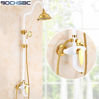 BOCHSBC Fashion Gold Bathroom Shower Set European Style Vintage Rainfall Shower Head Faucet White Shower Head Set