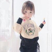 Bébé Fille de Bande Dessinée Robe Imprimée T-shirt Couture Dentelle Faux 2 Pcs Robe Nouveau Design Sirène Robe De Mode Enfants Fille Robe