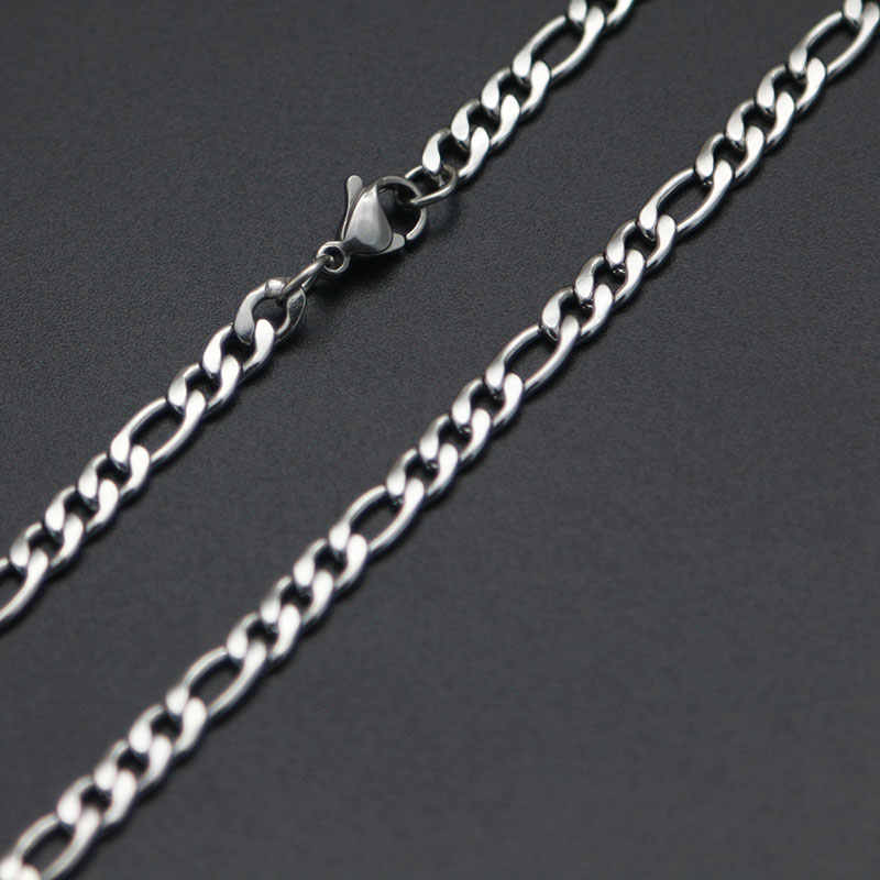 Cena hurtowa mężczyźni łańcuch srebrny łańcuch figaro 316 naszyjnik ze stali nierdzewnej kabel łączący karabińczyk dla mężczyzn