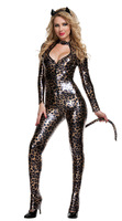 Women Black PVC Patent Leather Catsuit Sexy Leopard Catwoman Costume Latex Bodysuit Stretchable With Tail For