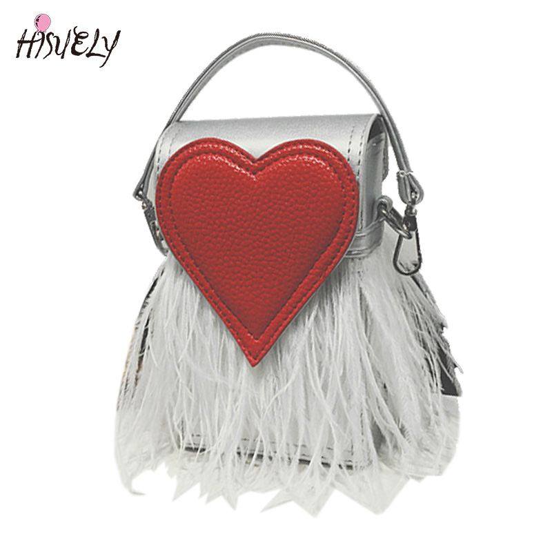 HISUELY New Design Fashion Feathers Heart Shape PU Leather Party Casual Female Totes Ladies Handbag Chain Shoulder Bag Flap 2017
