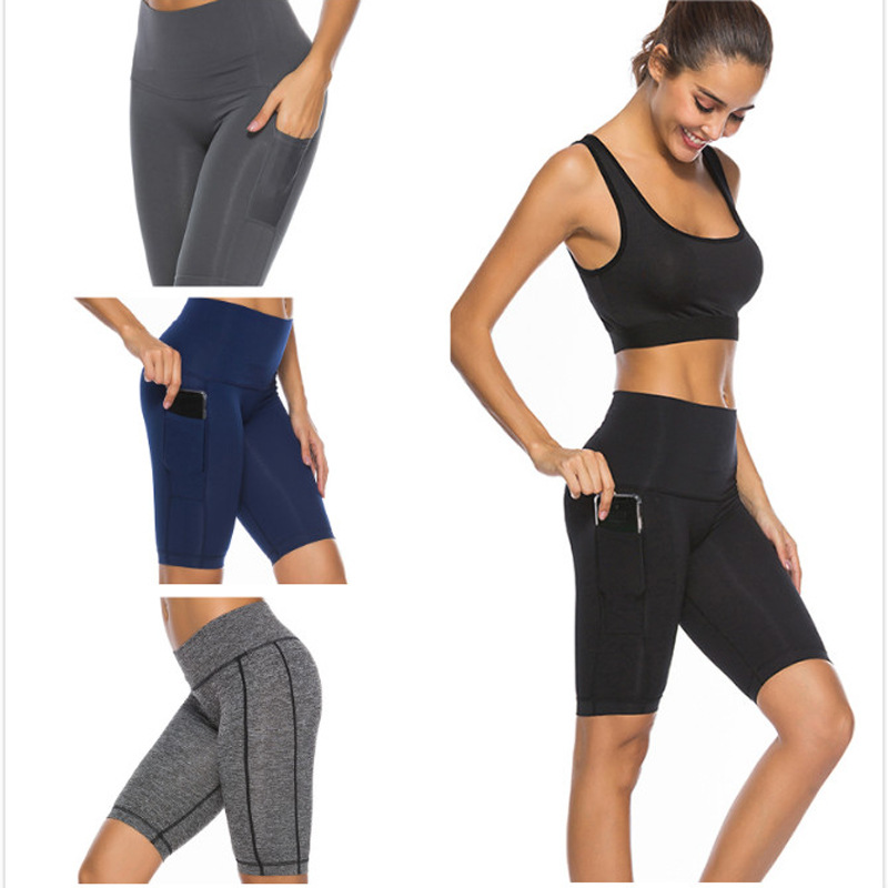 Fitness Push Up Seamless   Leggings   With Pocket Women Elastic Quick Dry Short Workout Pants Skinny Summer Running Sports   Leggings