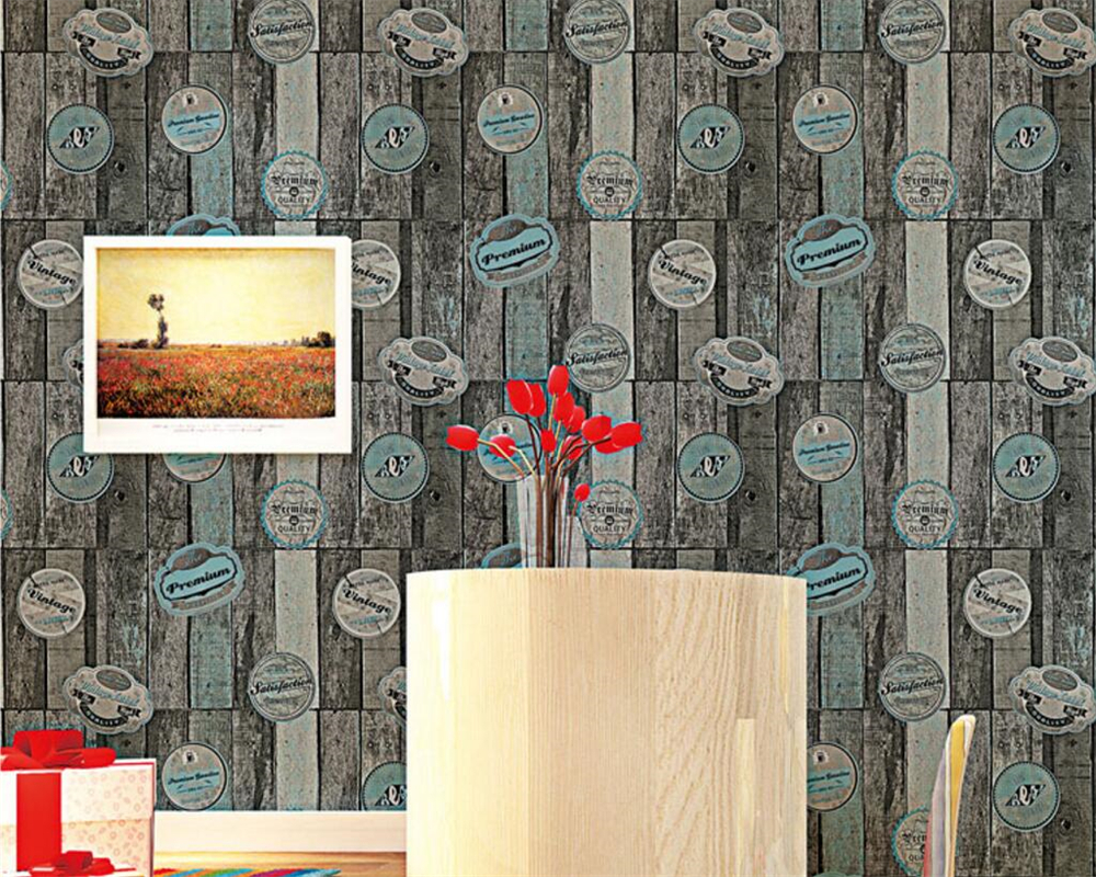 Beibehang Brown wallpaper retro old personality wood wallpaper 3D living room papel de parede wallpaper for walls 3 d behang large photo wallpaper bridge over sea blue sky 3d room modern wall paper for walls 3d livingroom mural rolls papel de parede