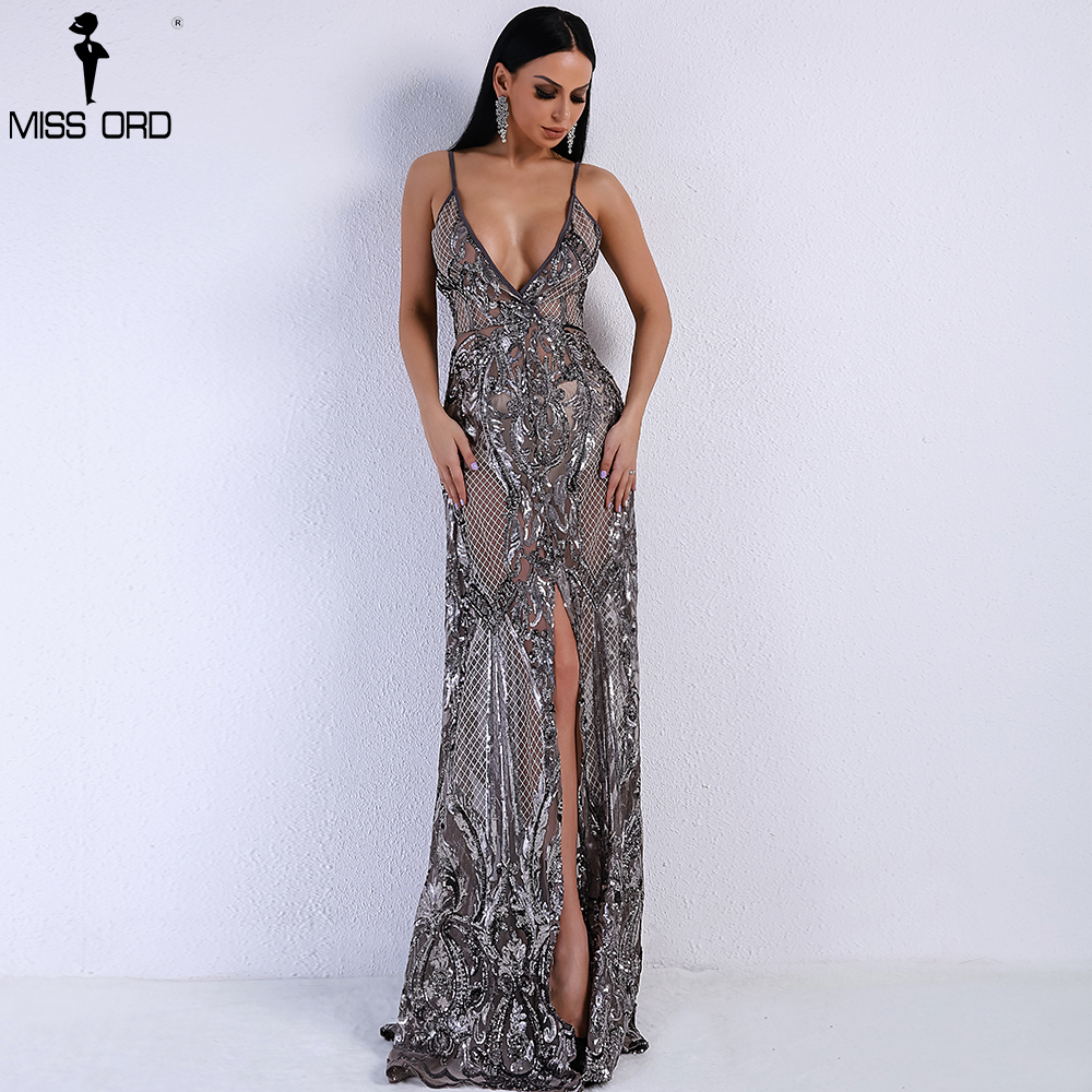 Missord 2019 Summer Sexy V-neck Off Shoulder Middle Split Women Dress Sequin See Through Maxi Party Dress FT5139-5