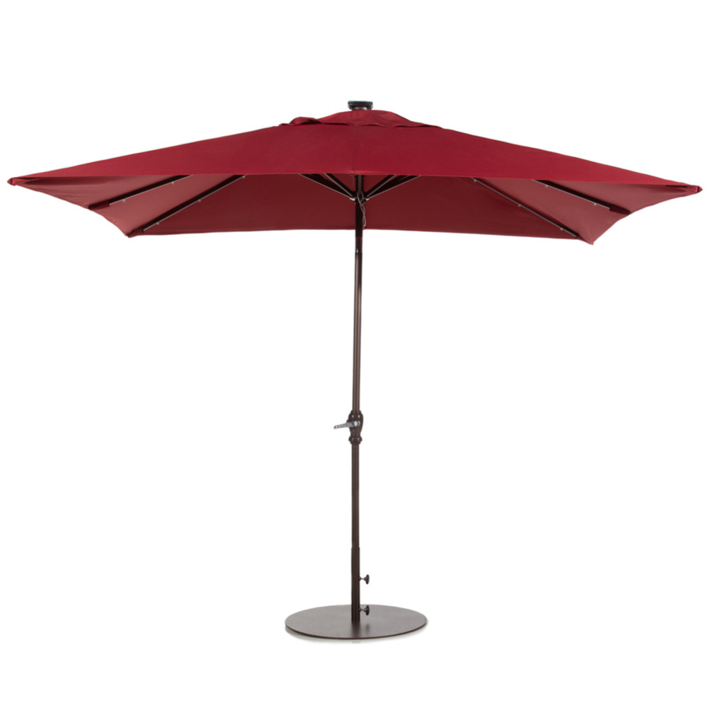 Delicieux Abba Patio 7 By 9 Feet Rectangular Solar Powered Aluminum Umbrella With  Tilt And 32 Solar LED Lights, Dark Red In Patio Umbrellas U0026 Bases From  Furniture On ...