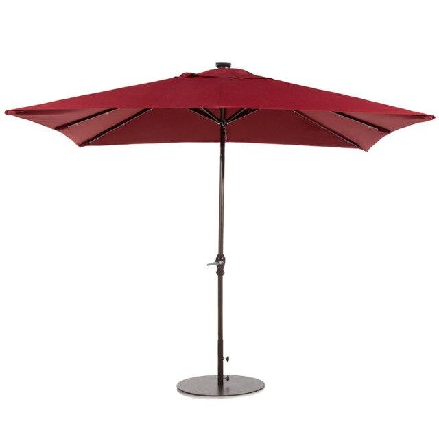 Abba Patio 7 By 9   Feet Rectangular Solar Powered Aluminum Umbrella With  Tilt And 32