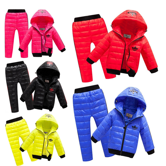 Children Set Boys girls Clothing sets winter 2-8year Jacket + Trousers Waterproof Snow Warm kids Clothes suit kids snow suits