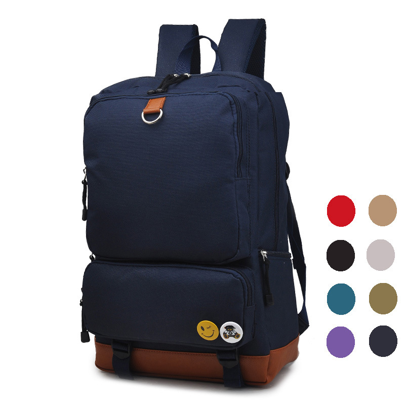 Hot 18 Laptop Backpack University Canvas Shoulder Bags in Blue / White / Black / Red Color Preppy Style Solid Bag retro style two front pockets laptop compartment vintage canvas solid color backpack