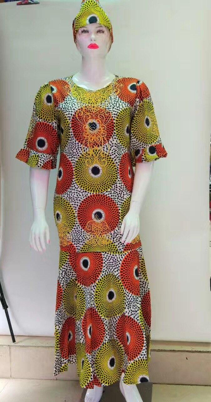 Robe Africaine robes femmes vêtements coton Promotion traditionnelle offre spéciale afrique Bazin Riche 2019 Robe imprimée