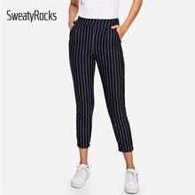 2831a7cf65 SweatyRocks bolsillo negro lado a rayas pantalones de cintura alta rayas  pantalones Tapered 2019 Moda de