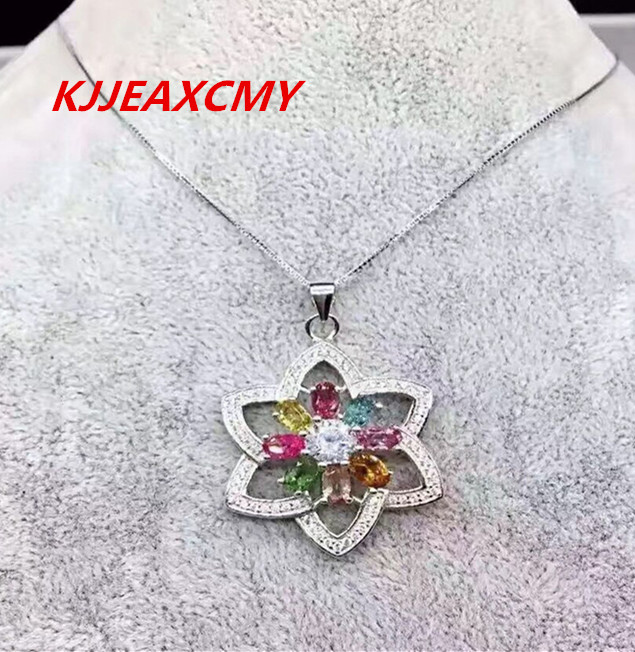 KJJEAXCMY Boutique jewelry Colorful jewelry, natural Tourmaline Pendant, S925 silver inlaid gemstone necklaceKJJEAXCMY Boutique jewelry Colorful jewelry, natural Tourmaline Pendant, S925 silver inlaid gemstone necklace