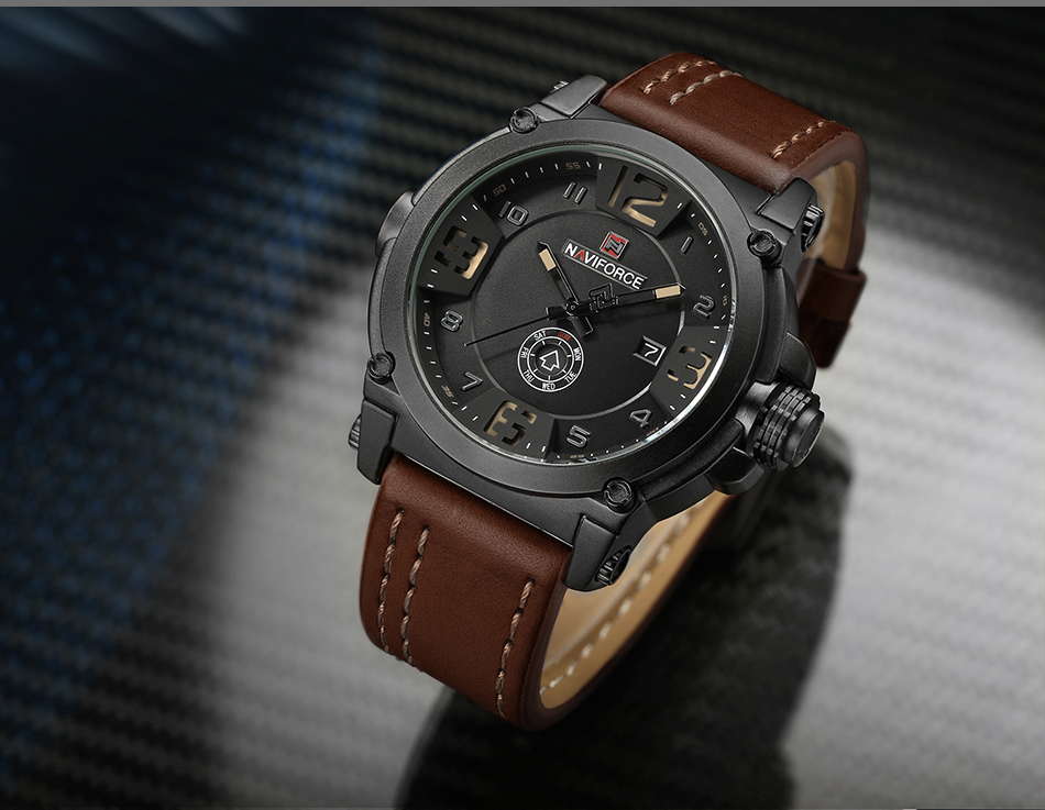 IA2A4139  High Model Luxurious NAVIFORCE Males Sports activities Watches Males's Military Navy Leather-based Quartz Watch Male Waterproof Clock Relogio Masculino HTB1RDRziO0TMKJjSZFNq6y 1FXaB