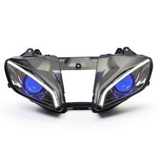 Передние фары KT для мотоцикла Yamaha R6 2008 -2015 ОптоволокноСветодиодный (LED) «Глаз демона» HID Проектор  Синий