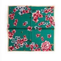 วินเทจลายดอกไม้พิมพ์ผ้าพันคอผ้าพันคอผ้าพันคอสี่เหลี่ยม