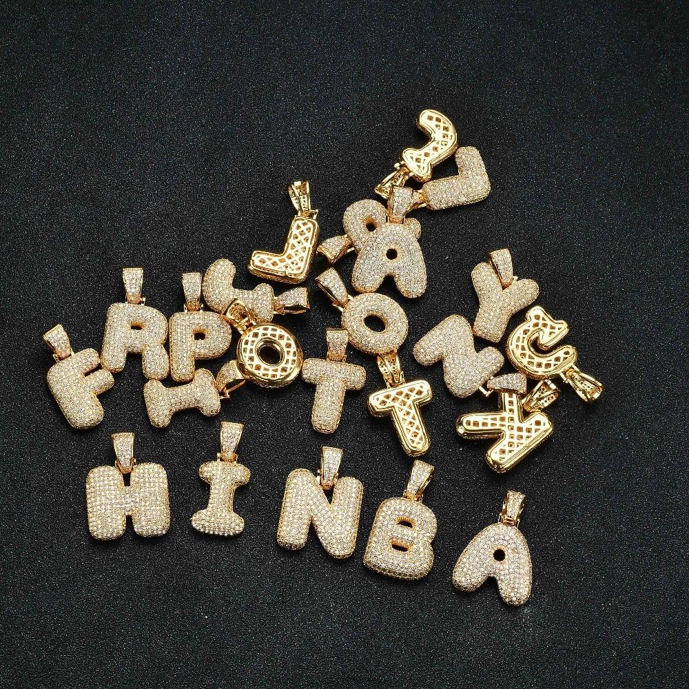 Bubble letter AAA+Cubic Zircon Bubble Letters Pendants&Necklaces Men's Hip Hop Jewelry