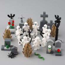 Terrifying Hallowmas Skeleton Soldiers Weapons Blocks City Parts Cemetery Accessories Animals Grass Plant Building Blocks Toys(China)