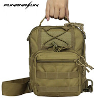 Outdoor Tactical Men's Shoulder Backpack Molle Chest Body Sling Single Pouch Hand Carry Camping Lantop Bag 600D