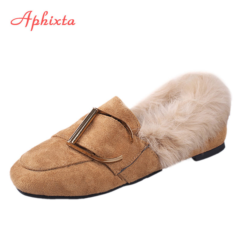 Aphixta Loafers Nature Fur Square Toe Slip-On Fashion Cow Suede Buckle Plush Lady Flat Winter Zapatos Mujer Big Size Woman Shoes aphixta loafers women flats heel shoes warm fur winter round toe female ladies casual slip on zapatos de mujer shoes plus size