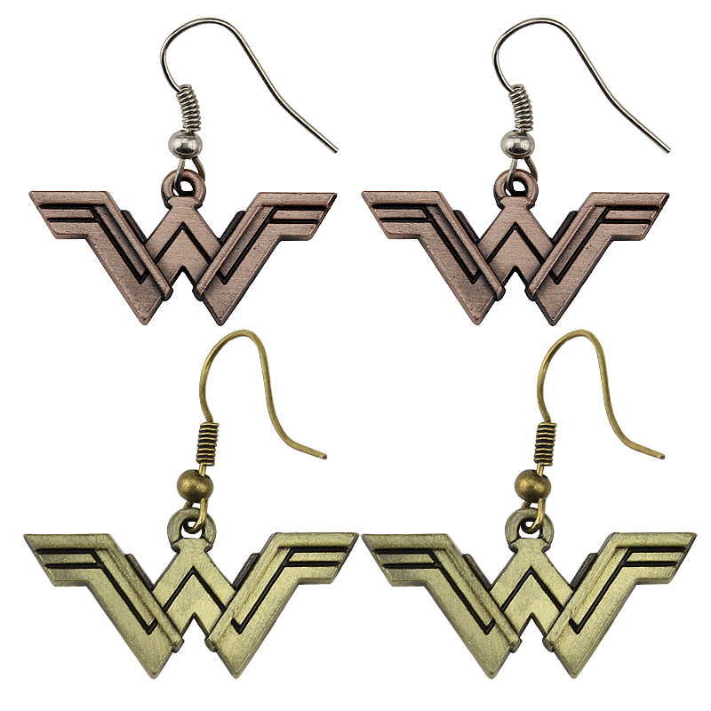 Fashion Wonder Woman Geeky Accessory Comic Superhero Cosplay Jewelry Drop Shipping Earrings Justice League Style Earrings