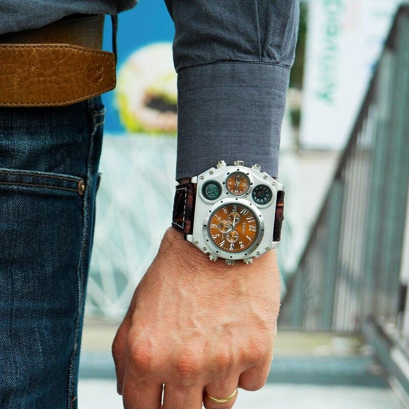 Oulm Sport Uhren Super Großen Stil Quarzuhr Männlichen Dual Time Zone Dekorative Thermometer Kompass PU männer Armbanduhr