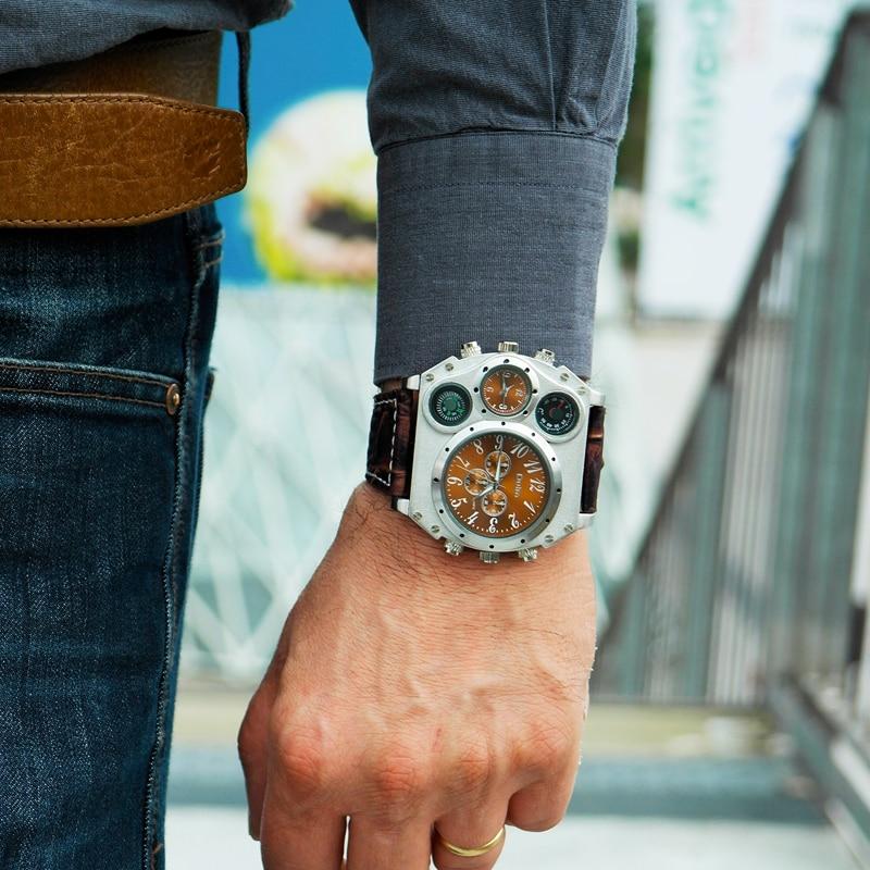 Oulm спортивные часы супер большой Стиль кварцевые часы мужской Dual Time Zone Декоративный термометр компас PU Для мужчин наручные часы
