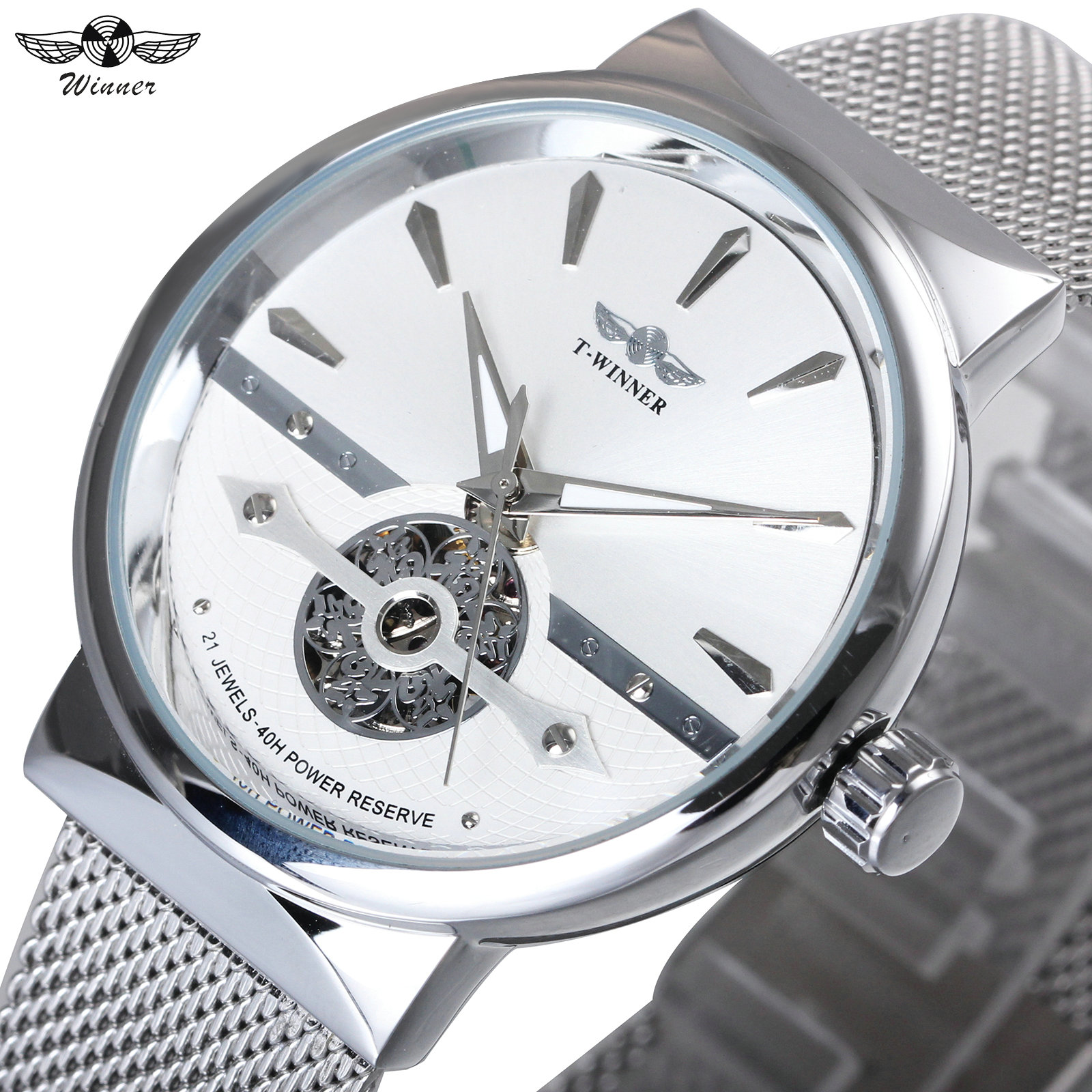 WINNER Fashion Men Auto Mechanical Wrist Watches Fortune Skeleton Dial Silver Ultra Thin Mesh Strap Top Brand Luxury Men Clock winner mens watches top brand luxury leather strap skeleton skull auto mechanical fashion steampunk wrist watch men gift box