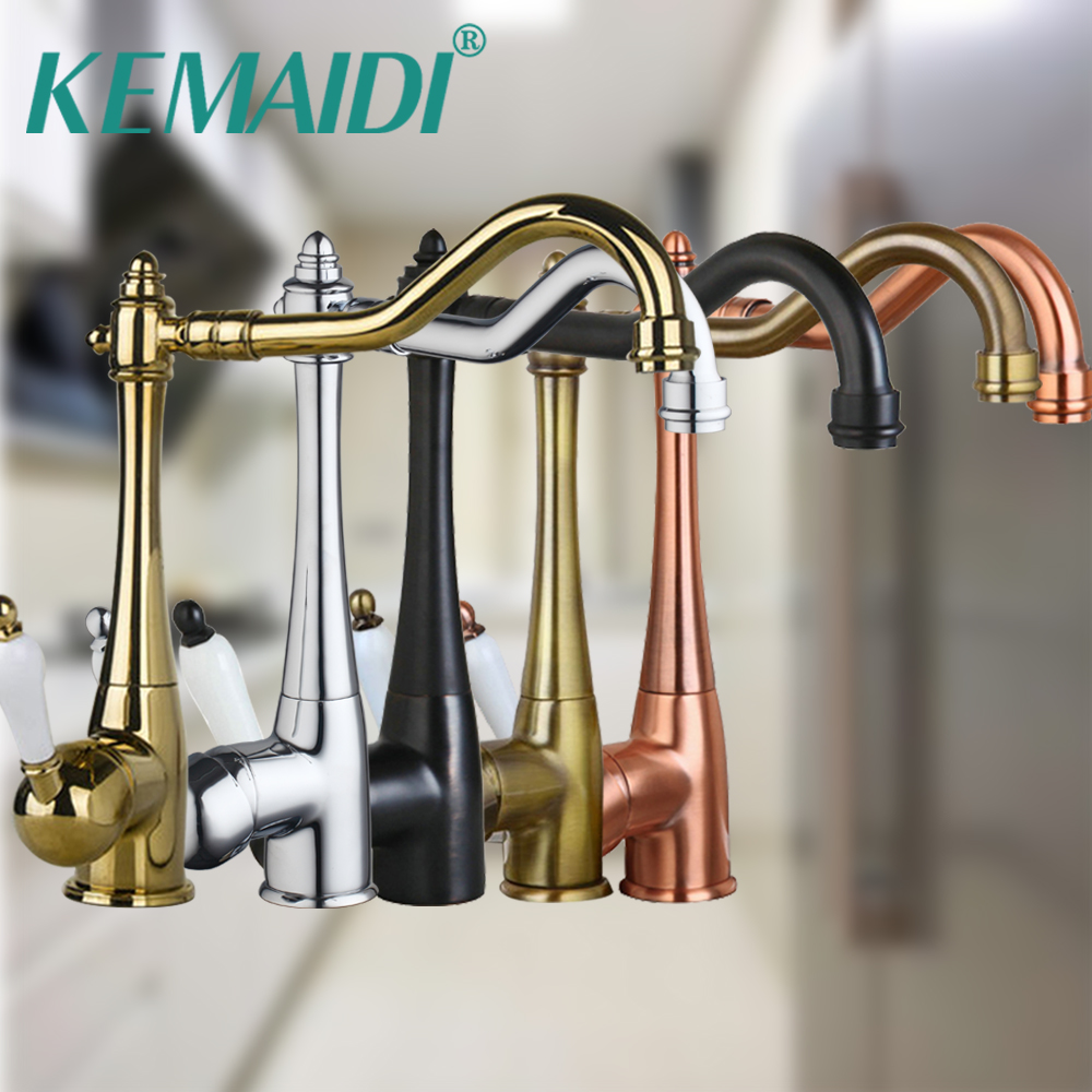 KEMAIDI  Kitchen Sink Faucet Mixer Taps  Antique Copper /Chrome / ORB / Gold Finish Swivel Brass Finish Deck Mounted TapKEMAIDI  Kitchen Sink Faucet Mixer Taps  Antique Copper /Chrome / ORB / Gold Finish Swivel Brass Finish Deck Mounted Tap