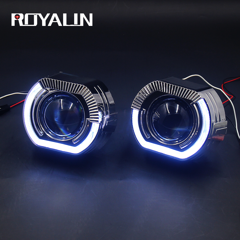 ROYALIN Car LED Bi Xenon H1 Projector Headlights Lens For BMW X5 R H4 H7 White Angel Eyes Lights Universal Hi/lo Lamp Retrofit