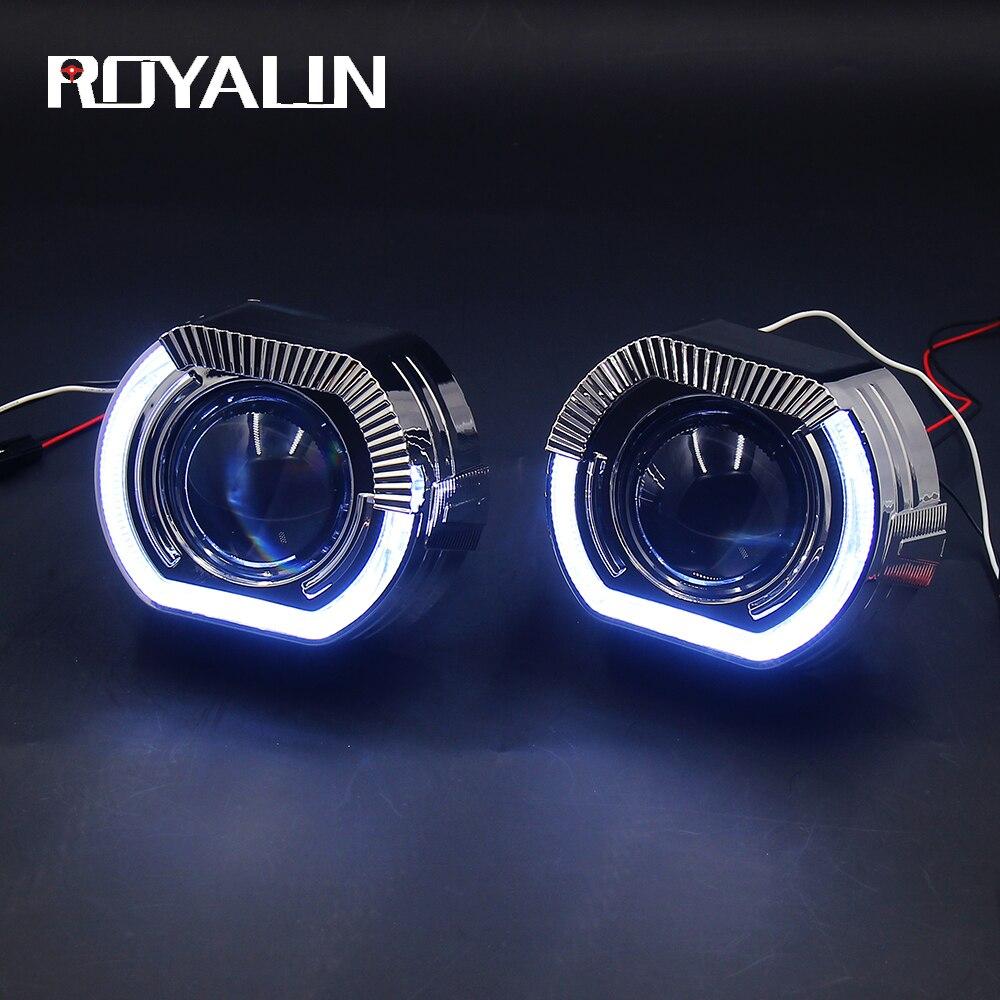 ROYALIN voiture LED Bi Xenon H1 projecteur phares lentille pour BMW X5-R H4 H7 blanc ange yeux lumières universel salut/lo lampe modification