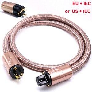 Image 5 - Hallo End Hifi verstärker OFC Reinem Kupfer Überzogene Gold Aluminium legierung Shell AC UNS EU IEC plug power Kabel kabel Draht