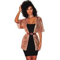 2018 Thời Trang Mùa Xuân Mùa Thu Vàng Glitter Sequin Blazer Phụ Nữ Ngắn Tay Áo Thời Trang Dạo Phố Mỏng Đảng Sparkly Jacket Áo Coat Cardigan