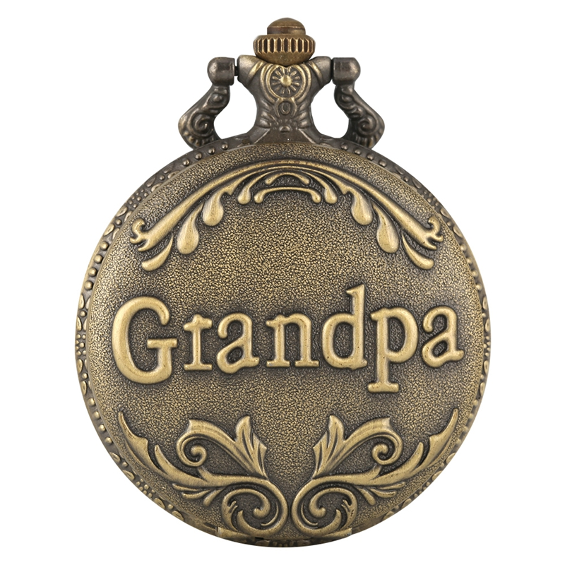 Art Collectibles Antique Retro Grandpa Quartz Pocket Watch Bronze Punk Necklace Pendant Top Unique Gifts For Grandfather Grandpa