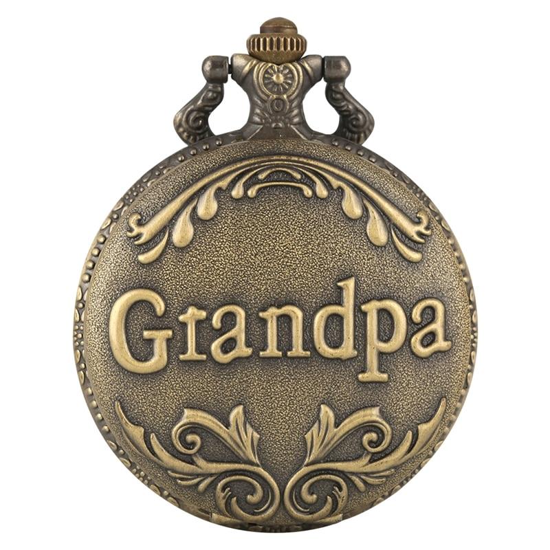 Art Collectibles Antique Retro Grandpa Quartz Pocket Watch Bronze Punk Necklace Pendant Top Unique Gifts For Grandfather Grandpa