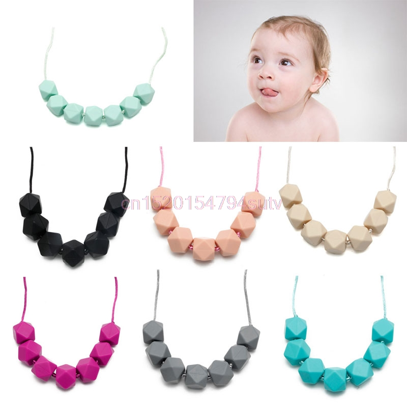 font b Baby b font Teething Necklace Chain Teether Cute Charm BPA Free Beads Polygon