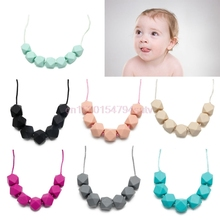 Baby Teething Necklace Chain Teether Cute Charm BPA-Free Beads Polygon Silicone #H055#