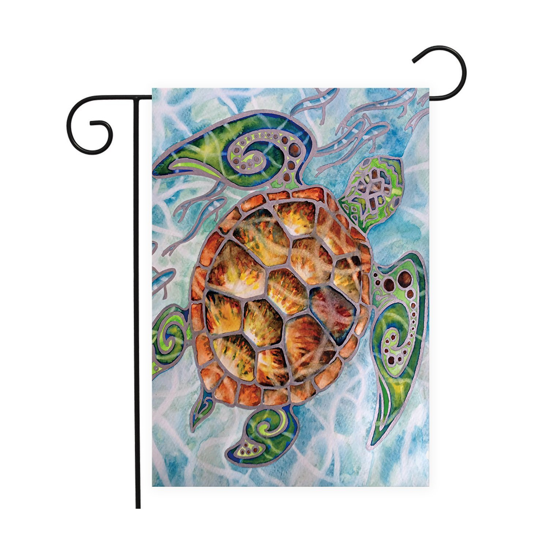 Sea Turtle Garden Flags House Decor Mini Yard Banner,100% Polyester