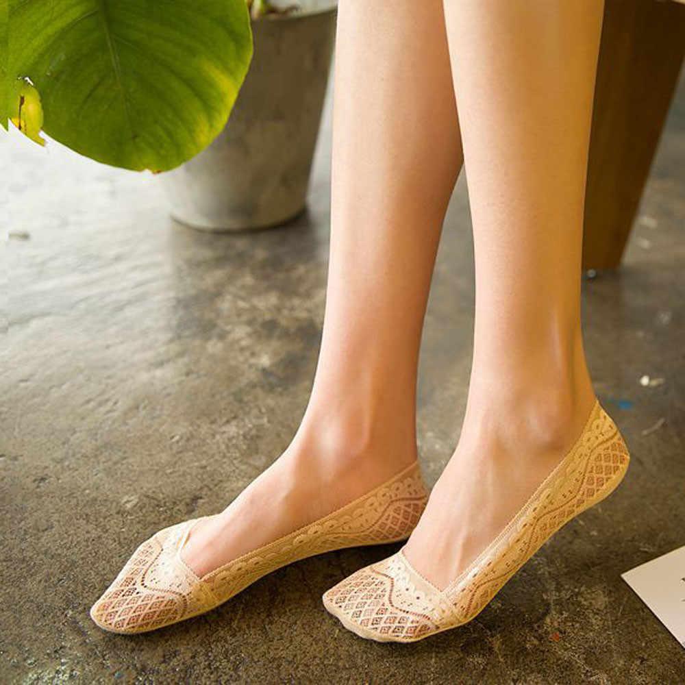 Jaycosin 靴下夏の女性のファッション透明レースインビジブルボートソックス女性ストレッチ快適なセクシーなスリップ